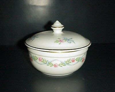 Hall's Superior Covered Bowl Wildfire Pattern Pink Roses Blue Bows