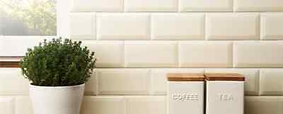 Tile Deals Victoria Metro Gloss Cream Bevelled Kitchen Wall Tiles 10 X 20Cm
