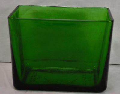 Vintage Green Glass Rectangular Vase Planter Made By Napco 1164 Cleveland USA
