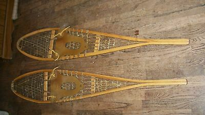 """Pair of RAWHIDE & WOOD SNOW SHOES Snowshoes; Vtg, 10"""" x 56"""", Rubber Foot Straps"""