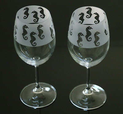 Seahorse Wine Glasses by Glass in the Forest.