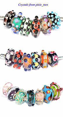 Handmade Murano Glass Lampwork Dots Charm Bead, Big Hole fit European Bracelet