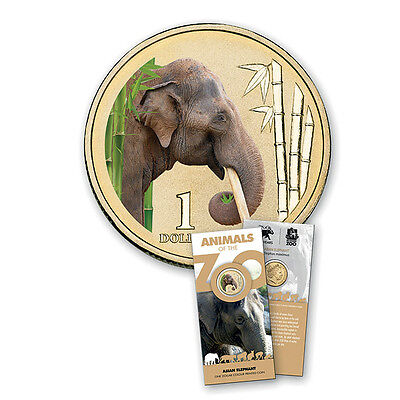 """$1 2012 Animals of the Zoo """" Asian Elephant """" Australian One Dollar Coin in card"""