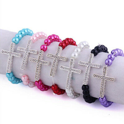 Women 1Pc Smooth Glass Pearl Crystal Cross Elastic Shiny Bracelet 20Colors