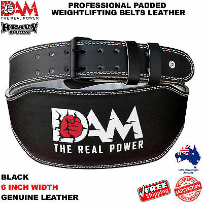Dam Black Leather Weight Lifting Belt  Body Building Gym Back Support 6 Inch New