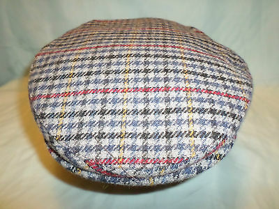 Gents Retro English County Blue Tweed Wool Flat Cap Made In England