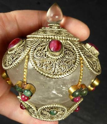 Tibetan High Altitude Quartz Crystal Gemstone Jewel Encrusted Sarira Stupa.