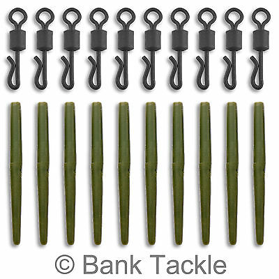 Anti Tangle Sleeves + Quick Change Swivels Carp Terminal Tackle Green x 10 (JAQ)