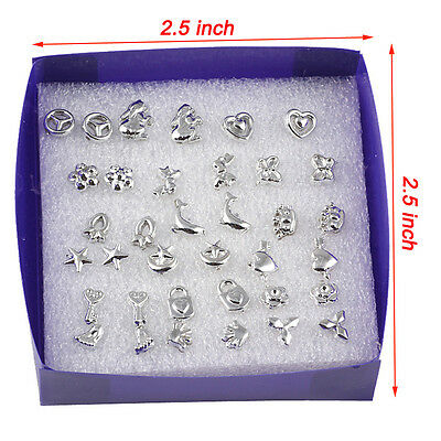 18 Pairs/lot Mix Styles Fashion Silver Plated  Stud Earrings Jewelry JUST