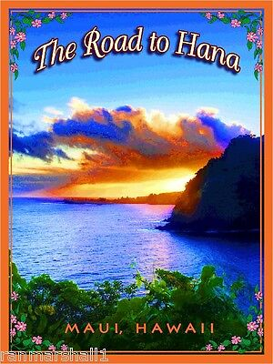 The Road to Hana Maui Hawaii Hawaiian Beach Surf Travel Advertisement Poster