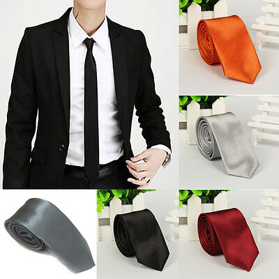 New Casual Slim Plain Mens Solid Skinny Neck Party wedding Tie Necktie JUST