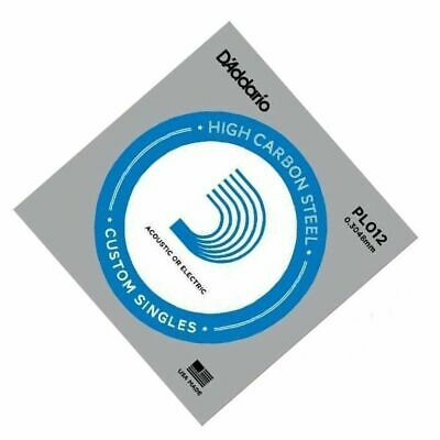 D'Addario PL012 single plain steel Electric / Acoustic Guitar string Gauge 12