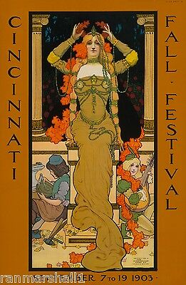 1903 Cincinnati Fall Festival American Nouveau Travel Advertisement Art Poster