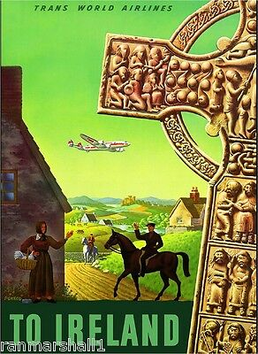 Ireland by Airline Irish United Kingdom Vintage Travel Advertisement Poster