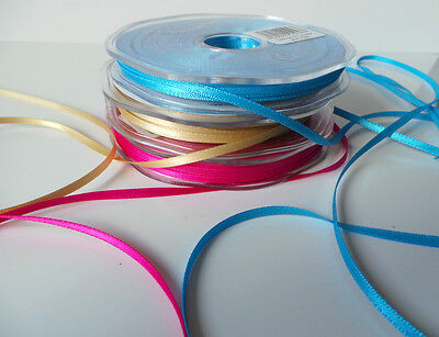 3mm Double Sided Satin Ribbon Beautiful Quality Choose colour & length Eleganza