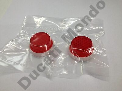 PAIR 20mm Red Reflector Round Self Adhesive Stick On Motorcycle MOT number plate