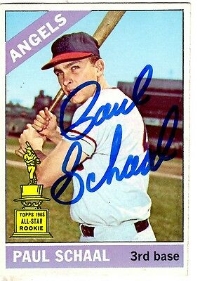 Autographed PAUL SCHAAL Los Angeles Angels 1966 Topps Card, #376 - w/COA