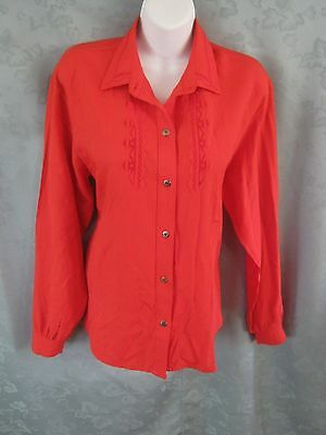 Vintage Roper Western Shirt Size Large Bright Red Embroidered Cowgirl