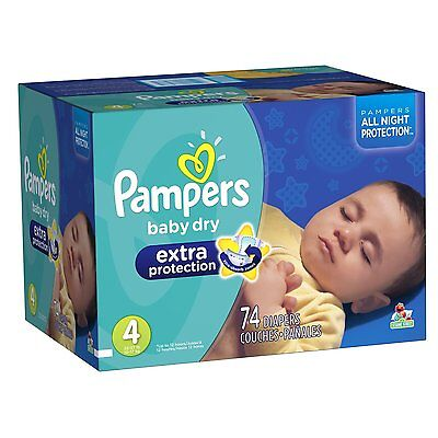 Pampers Baby Dry Extra Protection Diapers Size 4 Super Pack 74 Count