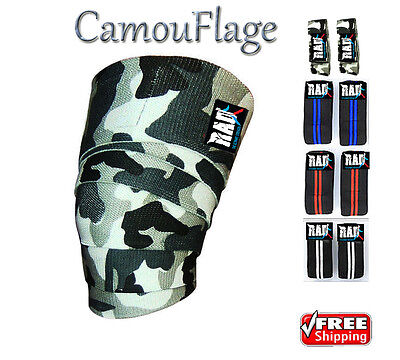 RAD 1 Pair Heavy Duty Knee Wraps For Power-lifting/Bodybuilding,Gym Camouflage