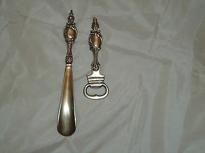 Bottle Opener & Shoe Horn Set Pewter Antique Style /Bar Pub/,Nice Gift