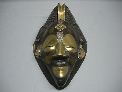Rare Antique African Hand Carved Wood Cameroon Mask, Brass & Coins 1920's-30's