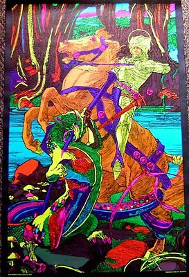nMINT~1970s Blacklight~DRAGON ST GEORGE~Jousting Poster