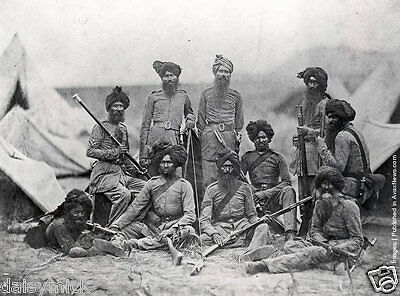 """Sikh Officers British Army 15th Punjab Regiment Indian Rebellion 7x5"""" Photograph"""
