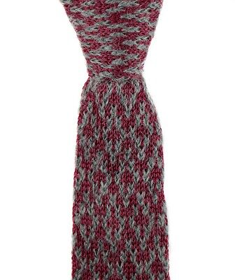 "SANTOSTEFANO Maroon Gray Mohair Square End Knit 2.25"" Skinny Neck Tie NWT $195!"