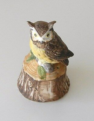 VINTAGE Bisque Porcelain Owl Bell/ Figurine ~ PERFECT For Owl & Bell Collectors!