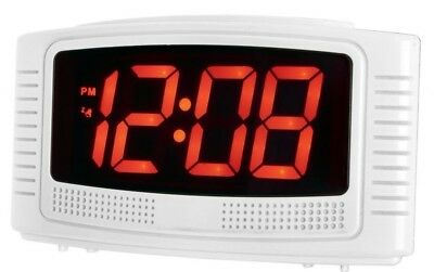 Acctim Vian Red 3cm LED Display Mains Powered Alarm Clock with Battery Backup