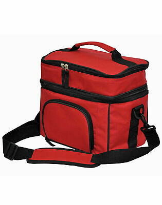 2 Layers Picnic Cooler Bag Lunch Box Wine Insulated Travel Pack | Black Navy Red