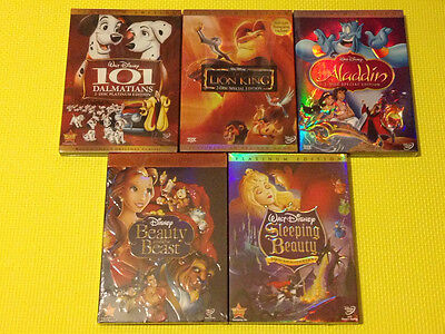 5 Disney DVDs : The Lion King, Beauty and the beast, Aladdin, Sleeping Beauty ,
