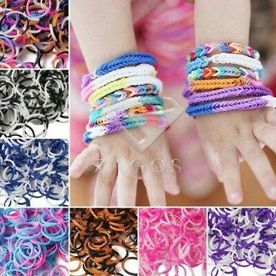 190x 4 Sections Loom Rubber Bands Refill+15x S Clips+1x Loom Tool Bracelet