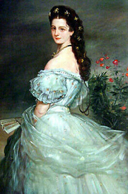 Handpainted Oil painting nice noble lady Empress Elisabeth in landscape canvas