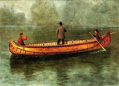 Handpainted Oil painting Fishing from a Canoe on the lake landscape no framed