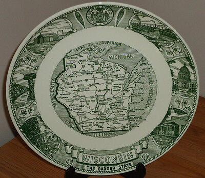 """WISCONSIN The Badger State MAP Vintage 10.25"""" collector's plate"""