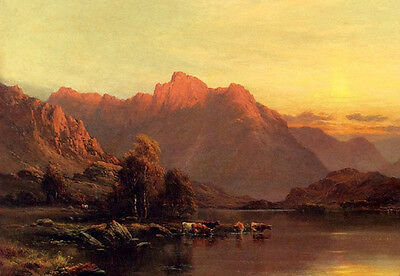 Oil painting Buttermere, The Lake District with cows drinking water in sunset AA