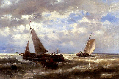 """Very nice oil painting seascape sail boats on ocean with waves before storm 36"""""""