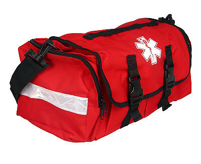 "First Responder Emt Paramedic On Call Trauma Bag W/ Reflectors- Red 17""x7X10"""