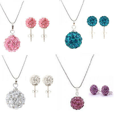 Fashion Shamballa Crystal Bead Disco ball Swarovski Silver Necklace & Earring