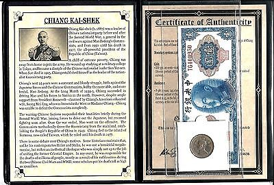 Chiang Kai-Shek Coin and Banknote With Story,Album & Certificate