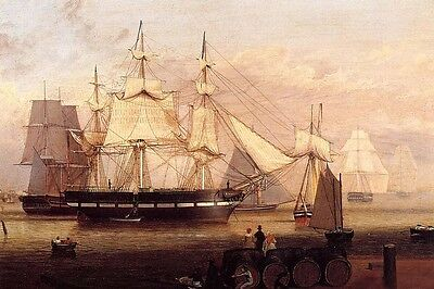 Stunning Oil painting Fitz Hugh Lane - Boston Harbor with huge sail boats canvas