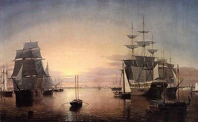 "Oil Fitz Hugh Lane - Boston Harbor at Sunset & sail boats free shipping 24""x36"""