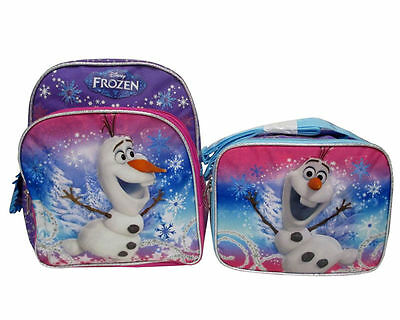 """Disney Frozen Olaf Snowman 12"""" inches backpack & Lunch Box - Licensed Product"""