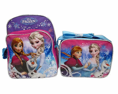 """Disney Frozen Elsa, Anna with Olaf 12"""" inches backpack & Lunch Box - Licensed"""