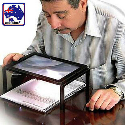 Reading 3X Magnifier Full Page Optical Magnifying Foldable A4 LED Lens EMAGN2121