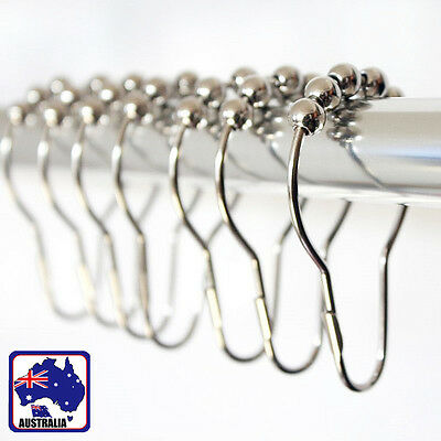 12x Chrome Polished Nickel 5 Rollerball Shower Curtain Hooks Rings HTCUR0001x12