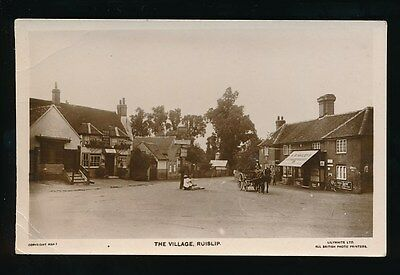 Middlesex RUISLIP Village George Hotel Post Office Hailleys Store c1900s? RP PPC