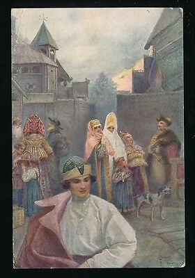 Russia National Costumes artist signed PPC used Moscow 1911 to UK